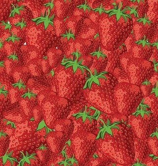 Seamless pattern with strawberry on white background