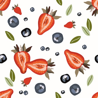 Seamless pattern with strawberry.