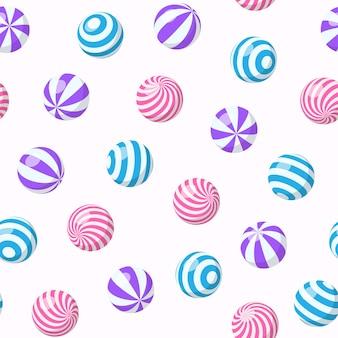 줄무늬 공, 풍선 껌, 둥근 사탕 또는 해변 탄력 구체가 있는 매끄러운 패턴입니다. 나선형 패턴, 검볼 또는 플라스틱 스포츠 장난감이 있는 달콤한 드라제가 있는 벡터 만화 배경