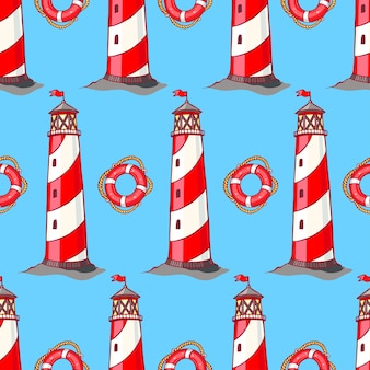 Seamless pattern with striped lighthouses and lifebuoys