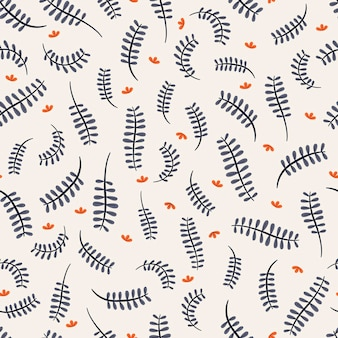 Seamless pattern with stylish fern leaves over white background