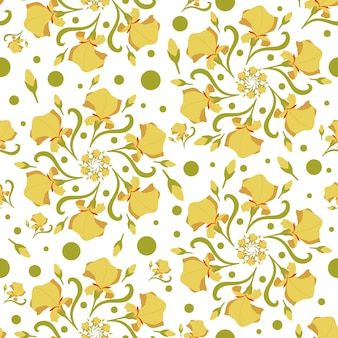 Seamless pattern with stylized flowers, orchid flower