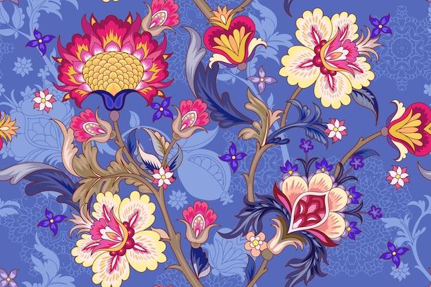 様式化された花とのシームレスなパターン