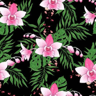 Seamless pattern with stylized orchid branch