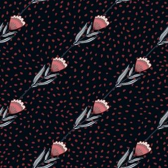 様式化されたアウトライン花のシルエットとのシームレスなパターン。ドットと黒の背景にピンクとブルーの色調の花飾り。