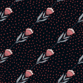 Seamless pattern with stylized outline flower silhouettes. pink and blue tones floral ornament on black background with dots.