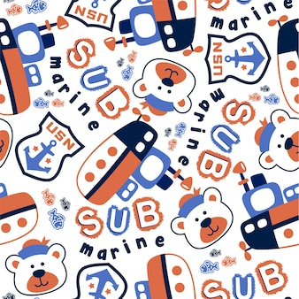 Seamless pattern with submarine and sailor head