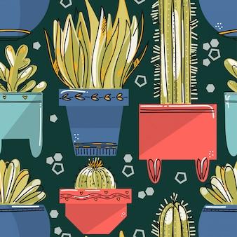 カラフルな鍋に多肉植物とサボテンのシームレスパターン。