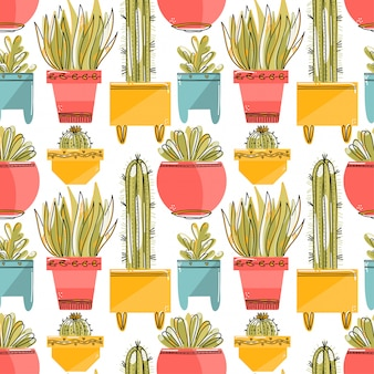 Seamless pattern with succulent and cacti in colorful pots.