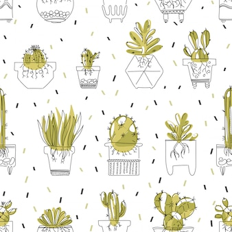 Seamless pattern with succulent and cacti with roots in pots.