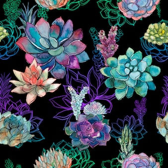 Seamless pattern with succulents on black background.