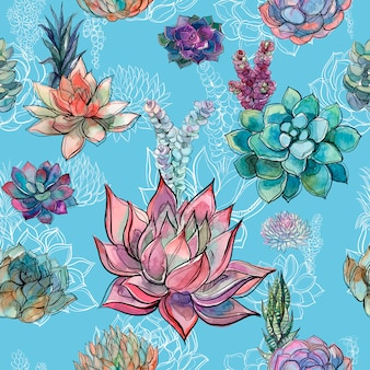 Seamless pattern with succulents on blue background.