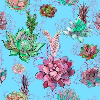 Seamless pattern with succulents on blue