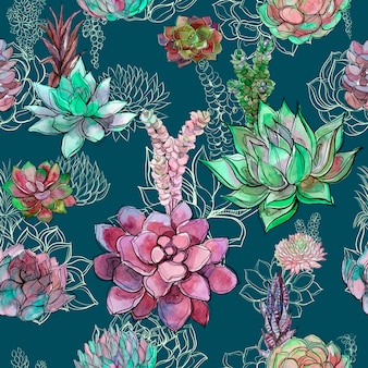 Seamless pattern with succulents on green color