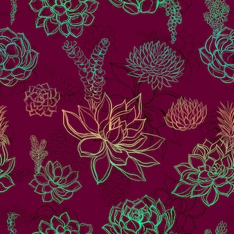 Seamless pattern with succulents