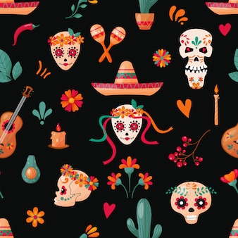 Seamless pattern with sugar skulls, floral and fruits decoration on the dark background. mexican holidays.