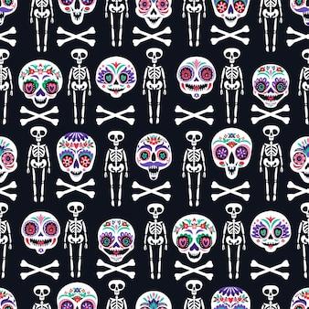 홀리데이 홈 장식을 위한 설탕 두개골과 함께 매끄러운 패턴입니다. 죽음의 날