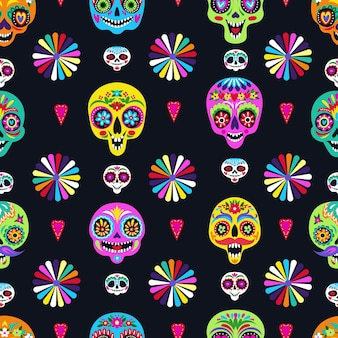 Seamless pattern with sugar skulls for holiday home decoration. day of the dead