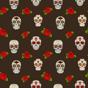 Seamless pattern with sugar skulls and roses. day of the dead.