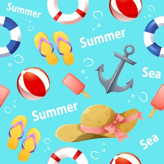 Seamless pattern with summer accessories vector
