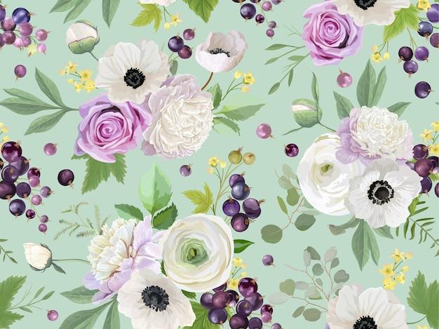 Бесшовный фон с летними ягодами, фруктами, листьями, цветами, фоном