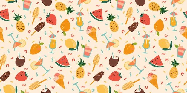 Бесшовный фон с летними коктейлями, мороженым и фруктами.