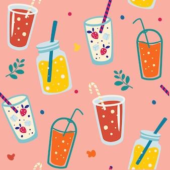 夏の飲み物とのシームレスなパターン。さわやかなカクテル。夏のシームレスなパターン。ベクトルの背景
