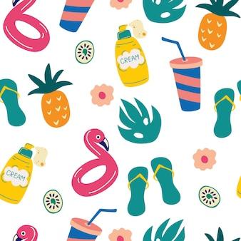 Бесшовный фон с летними элементами. принадлежности для пляжа: вьетнамки, солнцезащитный крем, ананас, пальмовый лист, надувной круг с фламинго. летний яркий фон для дизайна ткани. векторная иллюстрация.
