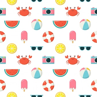 Seamless pattern with summer elements. travel and tourism on white background