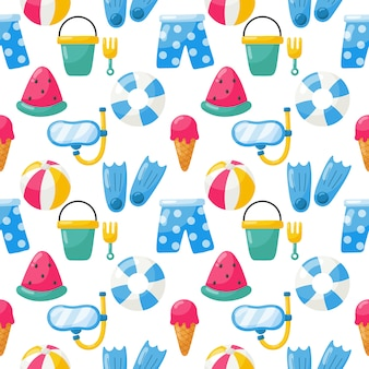 Seamless pattern with summer elements. travel and tourism
