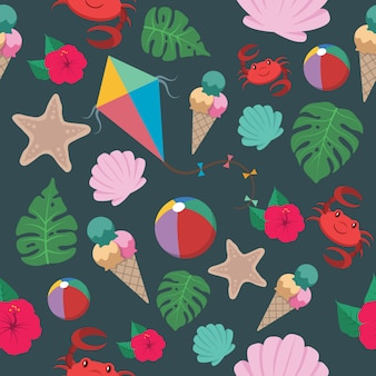 Seamless pattern with summer elements