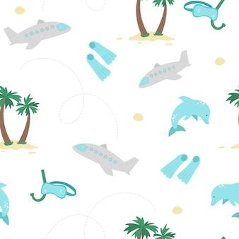 여름 요소와 원활한 패턴