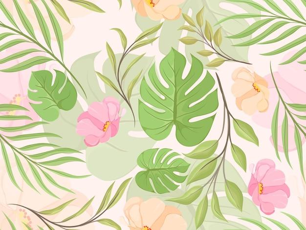 夏の花とのシームレスなパターン