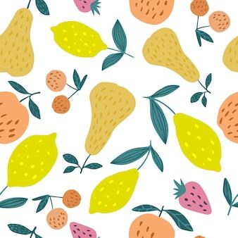 夏の果物とのシームレスなパターン。チェリーベリー、リンゴ、レモン、梨、葉