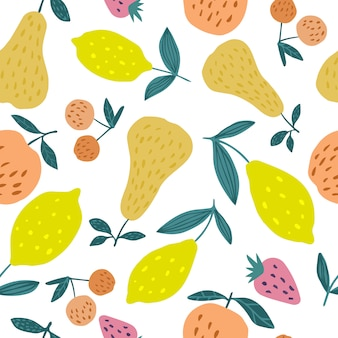 Seamless pattern with summer fruits. cherry berries, apples, lemons, pears and leaves