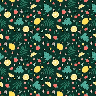 Seamless pattern with summer fruits, flowers and tropical leaves