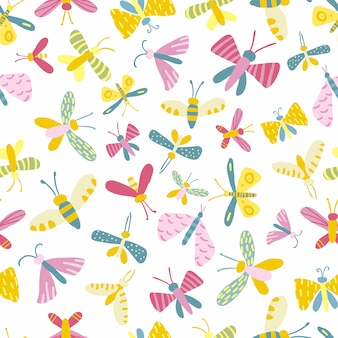 Seamless pattern with summer funny butterflies.