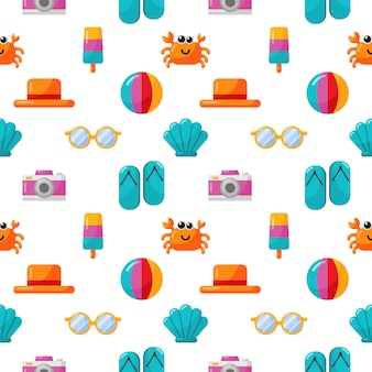 Seamless pattern with summer icons. travel and tourism on white background.