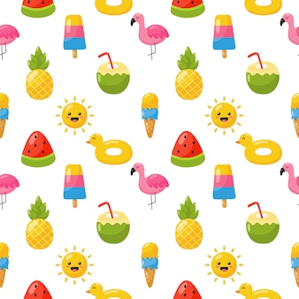 Seamless pattern with summer icons. travel and tourism on white .