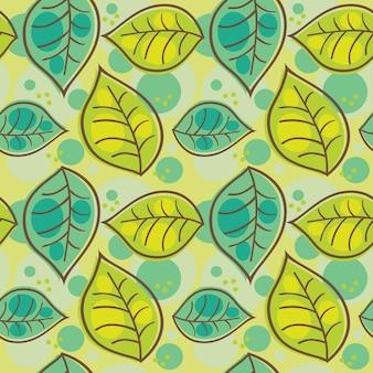 Бесшовный фон с летними листьями