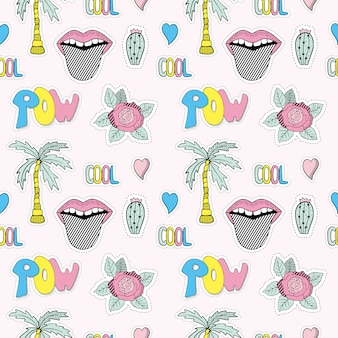 Seamless pattern with summer patches.