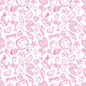 Seamless pattern with summer symbols