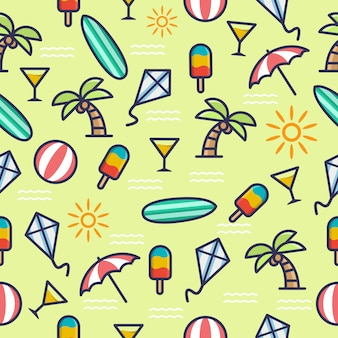 Seamless pattern with summer theme