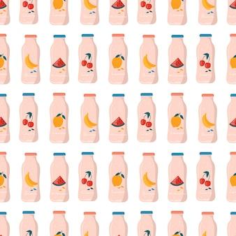과일과 딸기가 든 병에 여름 수박, 레몬, 바나나, 체리 주스와 함께 매끄러운 패턴입니다.
