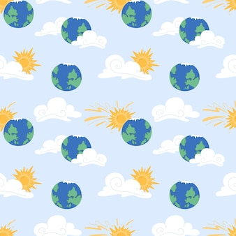 Seamless pattern with sun, cloud, earth planet