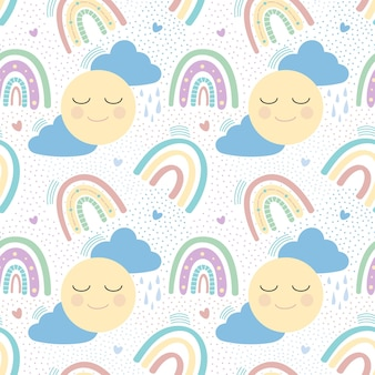 Seamless pattern with sun, clouds and rainbow. vector illustration