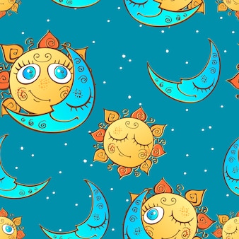 Seamless pattern with sun and moon for children .
