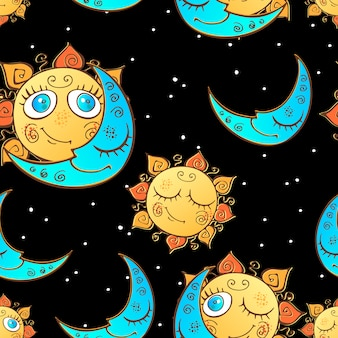 Seamless pattern with sun and moon for children