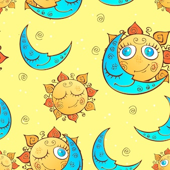Seamless pattern with sun and moon