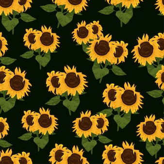 Seamless pattern with sunflowers and leaves